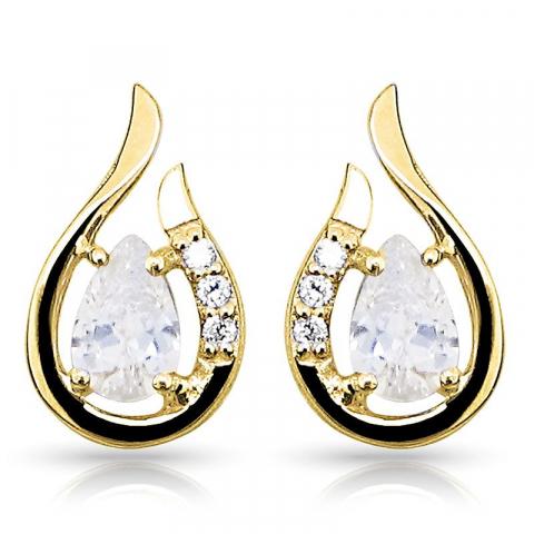 Mooi druppelvormige oorsteker in 9 karaat goud met zirkonen