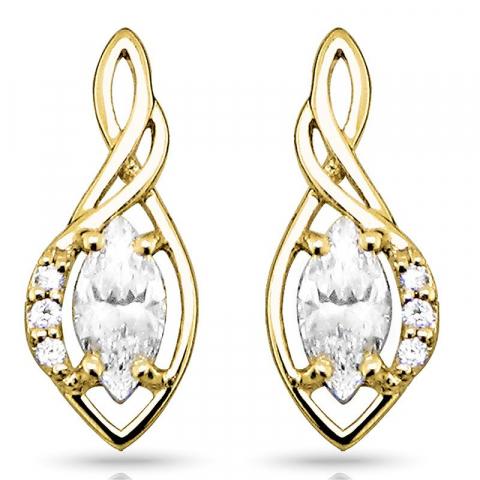 Mooie abstracte oorbellen in 9 karaat goud met zirkonen