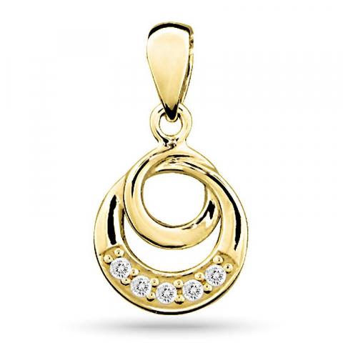 Mooi rond zirkoon hanger in 9 karaat goud