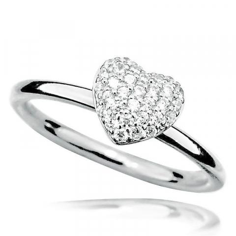 Eenvoudige hart zirkoon ring in zilver