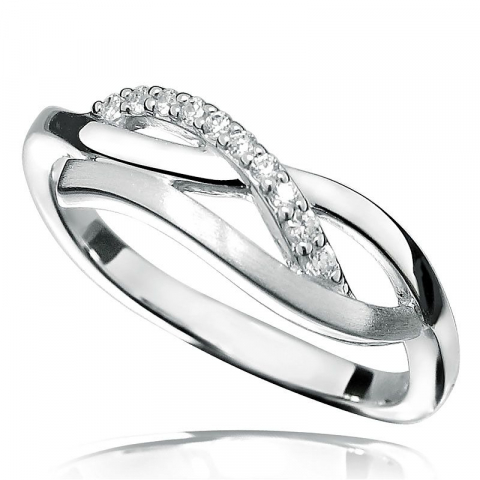 Moderne zirkoon ring in zilver