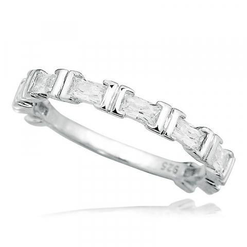 Mooie witte zirkoon zilver ring in zilver