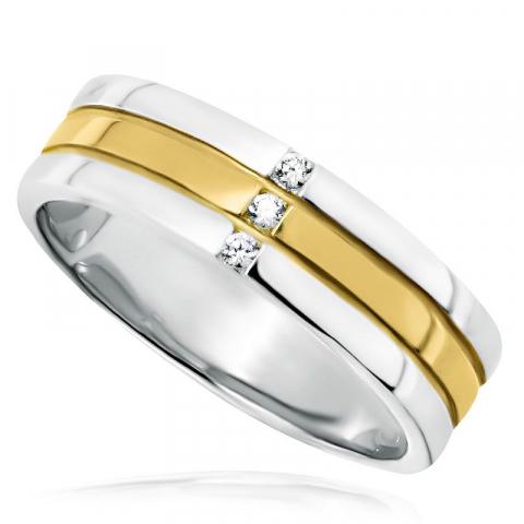 Elegant ring in gerodineerd zilver met verguld sterlingzilver