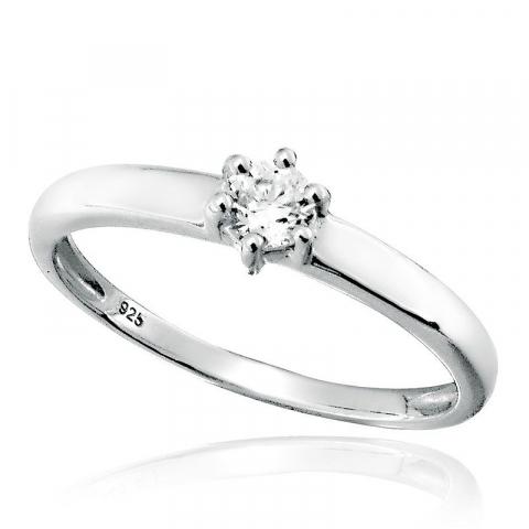 Mooi rond witte zirkoon ring in gerodineerd zilver