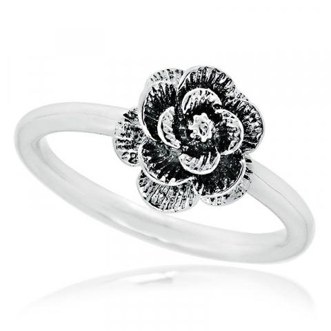 Mooi bloem ring in gerodineerd zilver