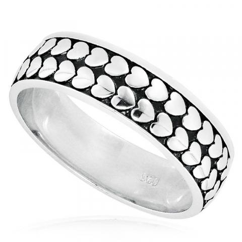 Mooi hart ring in gerodineerd zilver met geoxideerd sterlingzilver