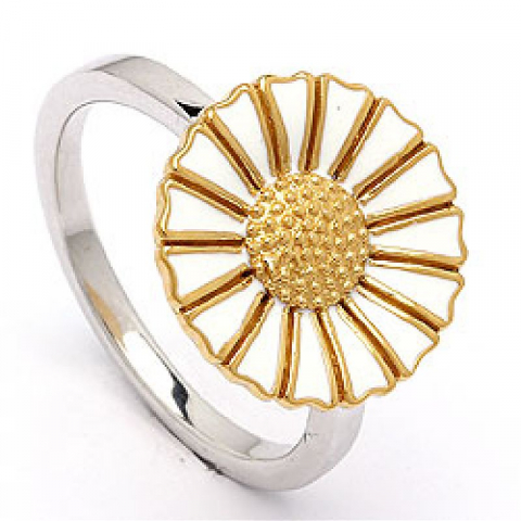 14 mm margriet ring in verguld sterlingzilver met gerodineerd zilver