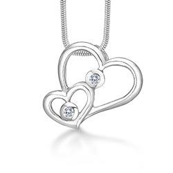 RS of Scandinavia hart hanger met ketting in zilver witte zirkonen