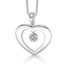 Mooi RS of Scandinavia hart hanger met ketting in zilver witte zirkoon