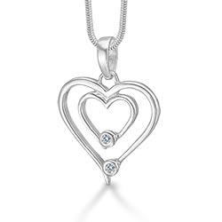 Mooi RS of Scandinavia hart hanger met ketting in zilver witte zirkonen