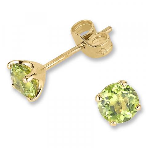 Mooie groene peridoot oorsteker in 9 karaat goud met peridoten