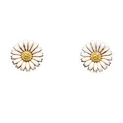 10 mm Kranz en Ziegler margriet oorbellen in verguld sterlingzilver witte emaille