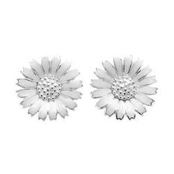 11 mm Kranz en Ziegler margriet oorbellen in zilver witte emaille