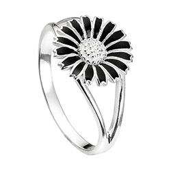 10 mm kranz en ziegler margriet ring in gerodineerd zilver zwart emaille