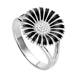 15 mm Kranz en Ziegler margriet ring in gerodineerd zilver zwart emaille