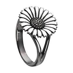 15 mm Kranz en Ziegler margriet ring in zwart gerhodineerd zilver witte emaille