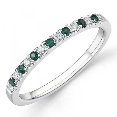 Smaragd diamant ring in 14 karaat witgoud 0,15 ct 0,10 ct