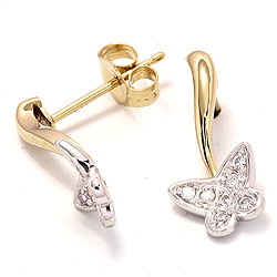 Vlinder oorsteker in 14 karaat goud en witgoud met zirkonen