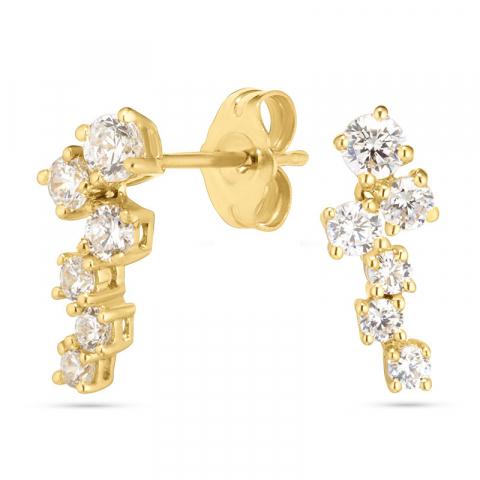 Goud oorbellen in 14 karaat goud met zirkonen