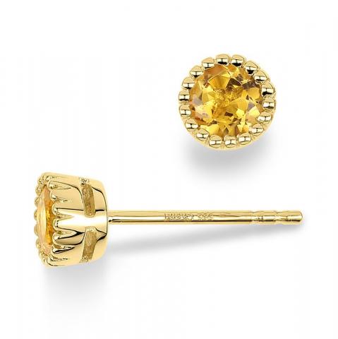 Citrien oorsteker in 14 karaat goud