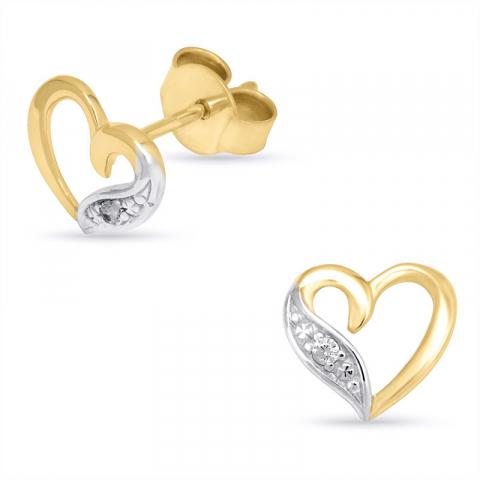 Hart oorbellen in 14 karaat goud met zirkonen