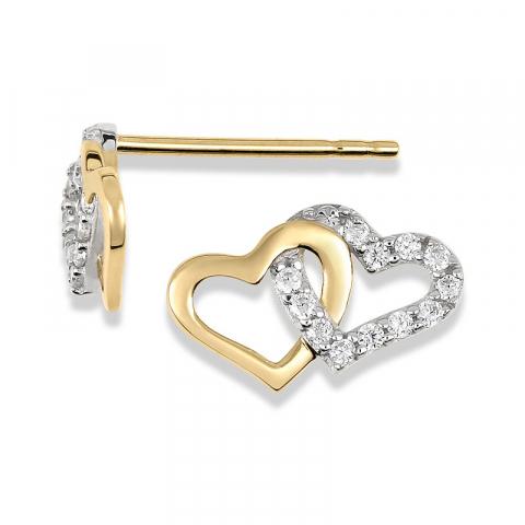 Dubbel hart oorbellen in 14 karaat goud met zirkoon