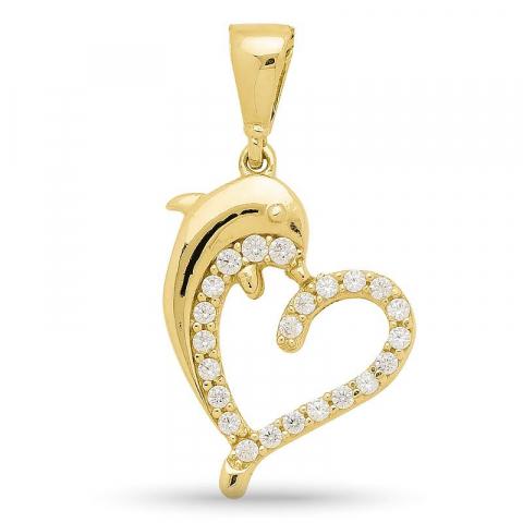 Dolfijn hartjes hanger in 9 karaat goud