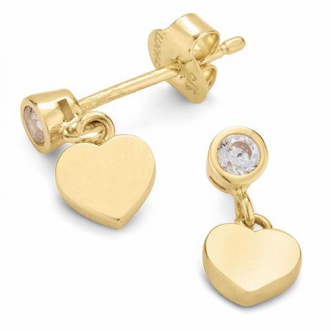Lange hart oorbellen in 9 karaat goud met zirkonen
