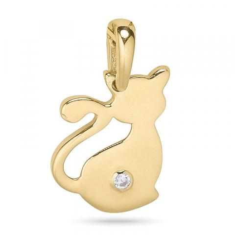 Katten hanger in 9 karaat goud