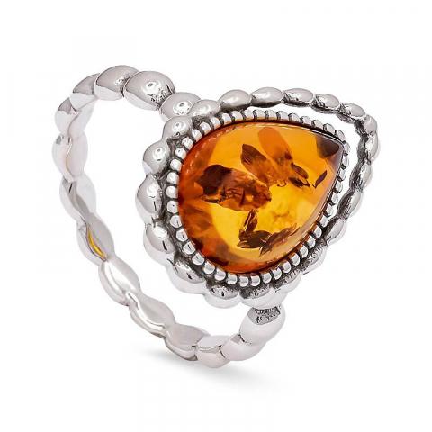 Mooi druppel ring in zilver