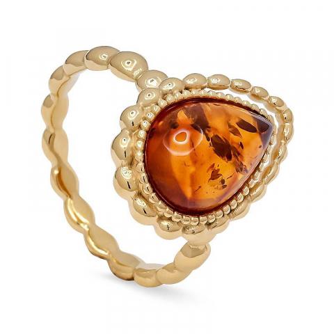 Mooie druppel barnsteen ring in verguld sterlingzilver
