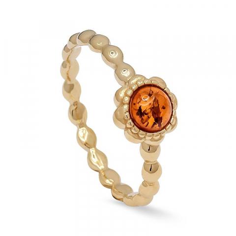 Smal bloem barnsteen ring in verguld sterlingzilver