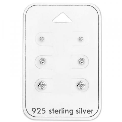 2 x 3 x 4 mm oorbellen in zilver