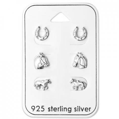 Schattige paarden oorbellen in zilver