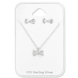 Strikje set met oorbellen en ketting in zilver