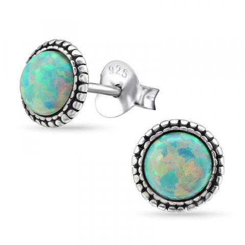 Rond opaal oorbellen in geoxideerd sterlingzilver
