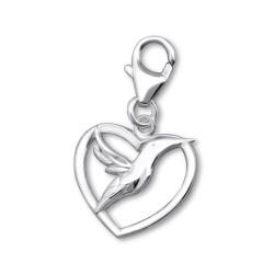 Hart bedeltjes hanger in zilver