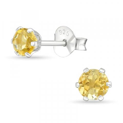 4 mm geel citrien oorsteker in zilver