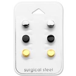 Mooie rond oorsteker in roestvrij staal met verguld staal met zwart staal