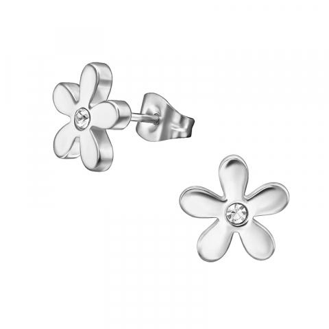 Mooie bloem oorsteker in roestvrij staal