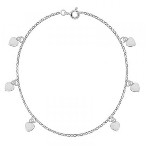 Enkelbandje in zilver met hartjes hanger in zilver