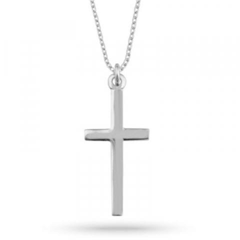 Kruis ketting in zilver met kruis hanger in zilver