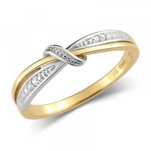 Mooi witte zirkoon gouden ring in 9 karaat goud met rodium