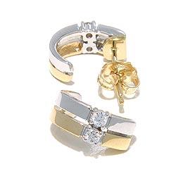 Diamant oorbellen in 14 karaat goud en witgoud met diamanten