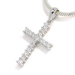 Kruis diamanten hanger in 14 caraat witgoud 0,28 ct