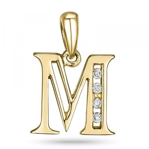 letter m hanger in 14 caraat goud 0,04 ct
