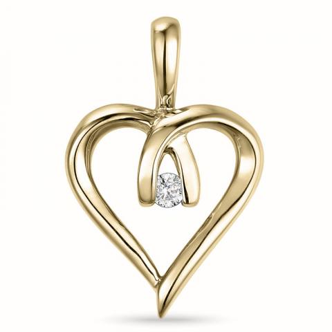 Diamanten hanger in 14 caraat goud 0,02 ct