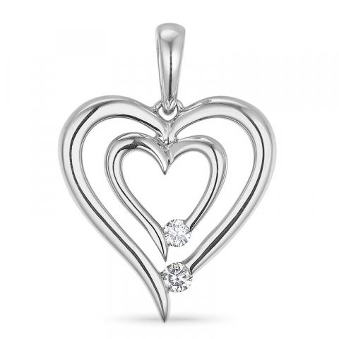 Diamant hartjes hanger in 14 caraat witgoud 0,07 ct