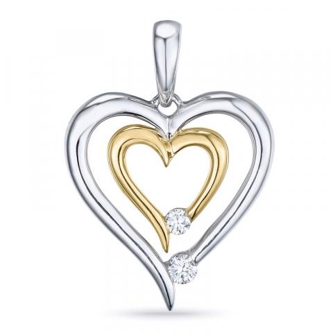 Schattig diamant hanger in 14 caraat goud-en witgoud 0,07 ct