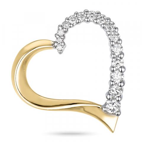 Schattig diamant hartjes hanger in 14 caraat goud-en witgoud 0,34 ct